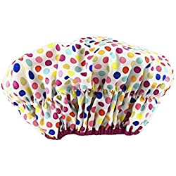 Betty Dain Fashionista Collection Mold Resistant Lined Shower Cap, Deco Dots, 2.8 Ounce