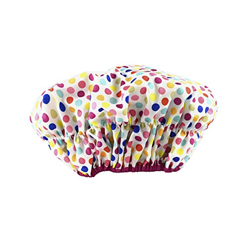 Price comparison product image Betty Dain Fashionista Collection Mold Resistant Lined Shower Cap, Deco Dots, 2.8 Ounce