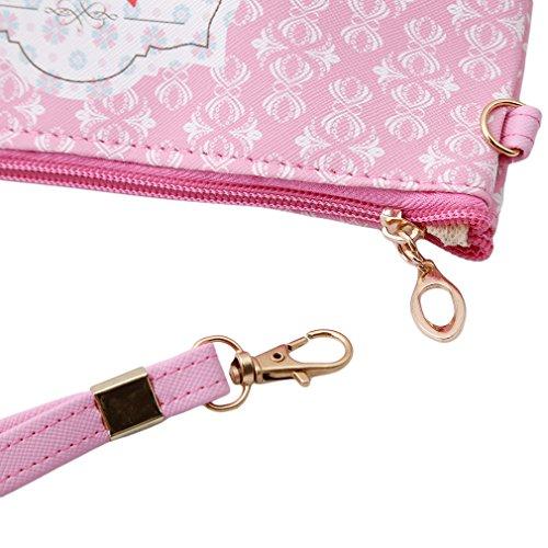 HENGSONG Tragbare Eule Kosmetik Tasche Make Up Beutel PU Leder Reißverschluss Klein Geldbeutel Toilettenartikel Organizer Reise Make-up Clutch Bag (Rosa)