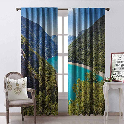 GloriaJohnson European Shading Insulated Curtain The Piva Canyon with Reservoir Montenegro Balkans Europe Sunlights Soundproof Shade W52 x L95 Inch Aqua Sky Blue Forest Green ()