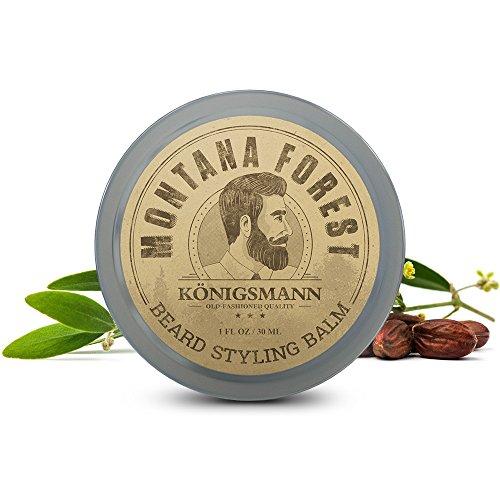 Beard Balm von KÖNIGSMANN - Montana Forest Bart-Balsam - 100% Natürlich Wald-Duft - Die perfekte Bartpflege ohne Ausspülen, für das Styling Ihres Bartes - Macht Ihren Bart garantiert zum Küssen weich