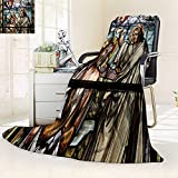 YOYI-HOME Soft Throw Duplex Printed Blanket Jesus Christ Baptism by Saint John The Baptist on an Old Stained Glass Window ation Anti-Static,2 Ply Thick,Hypoallergenic/47 W by 69'' H