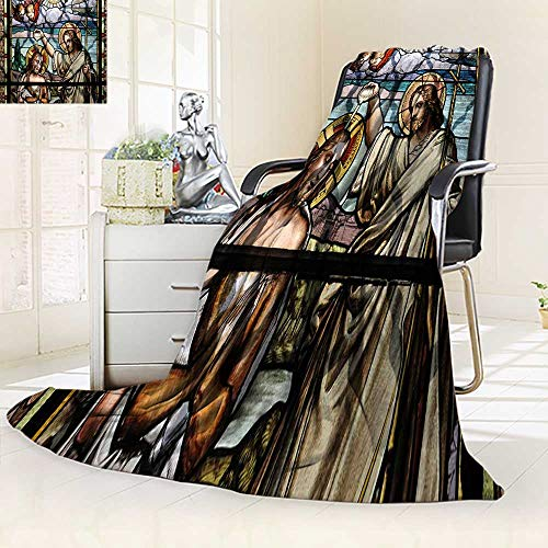 Decorative Throw Duplex Printed Blanket Jesus Christ Baptism by Saint John The Baptist on an Old Stained Glass Window ation |Home, Couch, Outdoor, Travel Use/59 W by 47