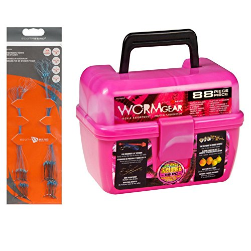 Pink wormgear tackle box with tackle included 136 piece for Pink fishing gear