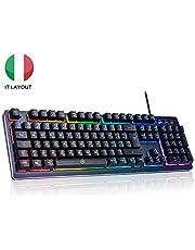 ITALIANA Tastiera Gaming PC RGB USB, Tastiera Semi Meccanica da Giochi per Computer Portatile Laptop gaming Videogame 105 Tasti, Tastiera Retroilluminata, Tastiera Meccanica USB Giochi Tastiere RGB