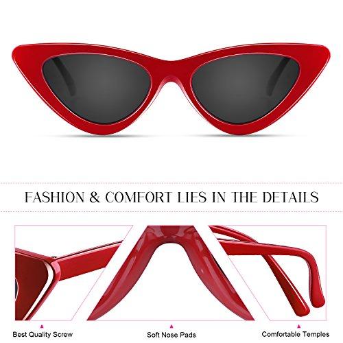 Cat Eye Soleil Vintage Triangle Frame Lunettes de Elimoons Plastique Gris rouge 01 Eyewear Retro Sunglasses Femme dqCwqp