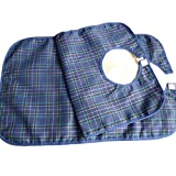 GOGO 1 Pc Waterproof Bib For Senior, Adult Bib w/Adjustable Closure, Tartan Plaid-Blue