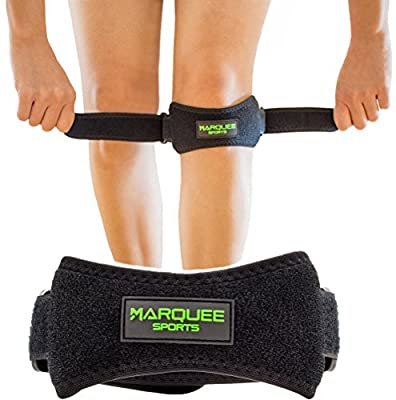 Marquee Sports Patella Knee Strap for Running, Basketball, and Hiking Adjustable Patellar Tendon Pain Relief and Support Brace from Jumper's Knee, Chondromalacia, and Tendonitis/Black