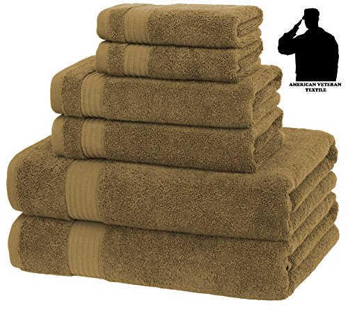 Premium, Luxury Hotel & Spa, Turkish Cotton 6-Piece Towel Set for Maximum Softness and Absorbency by American Veteran Towel (Chocolate Brown)