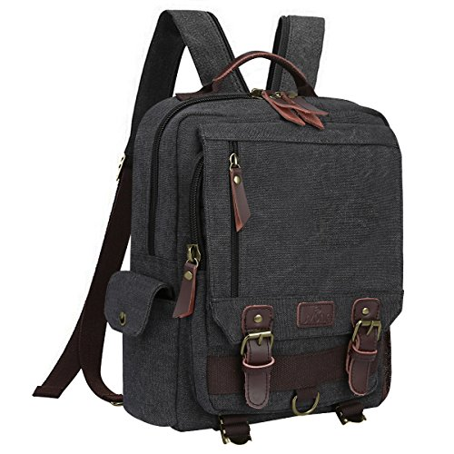 S-ZONE Sling Canvas Cross Body 13-inch Laptop Messenger Bag Shoulder Backpack (Dark Gray-Zipper Shoulder)