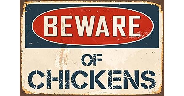 """Amazon.com: Beware de pollos 8"""" x 12"""" clásico ..."""