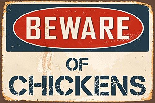 """StickerPirate Beware Chickens 8"""" x 12"""" Vintage Aluminum Retro Metal Sign (Metal Chicken)"""
