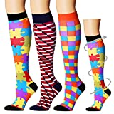 Compression Socks For Men & Women(3pairs) - Best for Running,Medical,Athletic Sports,Flight Travel, Pregnancy(Assort10-3pack-L/XL)