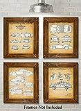 Original Porsche Patent Prints - Set of Four...