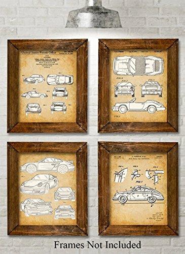 Targa Wall - Original Porsche Patent Prints - Set of Four Photos (8x10) Unframed - Great Gift for Car Lovers
