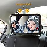 OMORC Espejo de la Vista Posterior para Bebé- Mire Fácilmente a su Niño Precioso en el Coche - Vidrio Ajustable, Convexo y Inastillable (Negro)