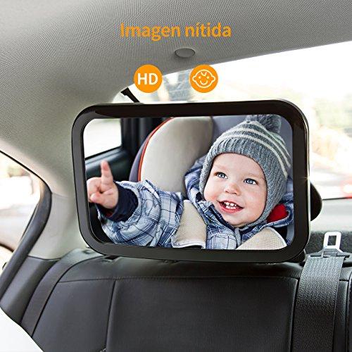 OMORC Espejo de la Vista Posterior para Bebé- Mire Fácilmente a su Niño Precioso en el Coche - Vidrio Ajustable, Convexo y Inastillable