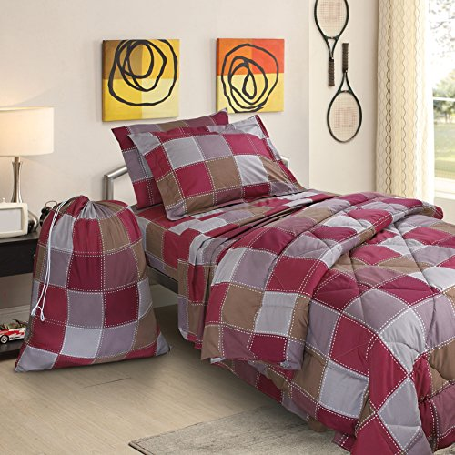 Clara Clark College Dorm Room Bed in a Bag Set, Twin X-Large, Checkerboard, 6 Piece ()