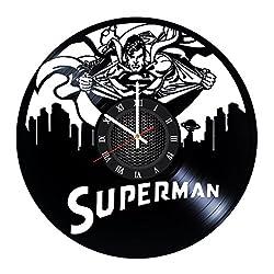 Superman DC Comics Superhero Handmade Vinyl Record Wall Clock Fun gift Vintag...