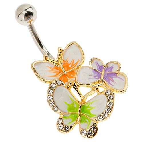 Belly Button Ring 316L Surgical Steel Navel Piercing Silver Bananabell Barbell 14 Gauge With Colorful 3 Butterflies Decorations
