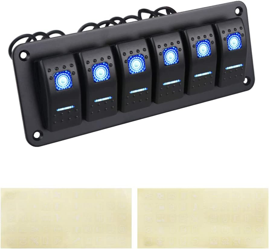 WATERWICH Marine Boat Car 2 3 4 5 6 Gang ON-Off Ignition Waterproof Toggle Rocker Switch Panel with 5 Pin Pre-Wired Led Light Dash DIY100 Stickers for RV Vehicle Truck Yacht Ship SUV Bus (6 Gang)