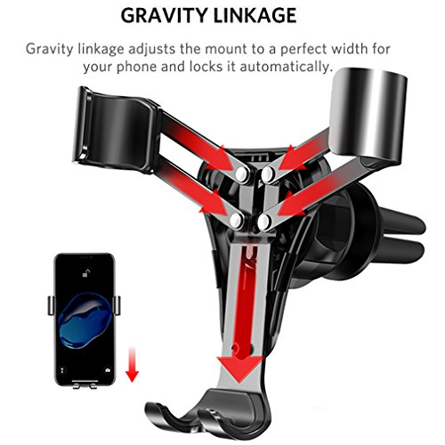First2savvv Car Cell Phone Holder - Gravity auto Lock Hands-Free Mobile Phone Holder for Car, Air Vent Car Phone Mount for iPhone X/8/7/7Plus/6s/6Plus, Samsung Galaxy/S9/S8/S7/S6/Note etc.CAR-ZL-A15 by first2savvv (Image #3)