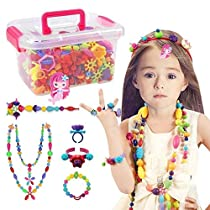 Conleke Pop Snap Beads Set 500 PCS for Kids Toddlers Creative DIY Jewelry Toys - Making Necklace,Bracelet and Ring - Ideal Christmas Birthday Gifts for 4,5,6,7,8 Year Old Girls