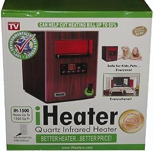 NEW iHeater IH-1500 Wood Finish Quartz Infrared Portable Home Heater