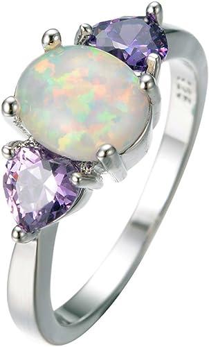 F/&F jewel Fashion design Purple Fire Opal Rings For Women Wedding Ring Engagement Bridal Rings