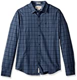 Original Penguin Men's Long Sleeve Jaspe Plaid Woven, Dark Sapphire, Extra Large