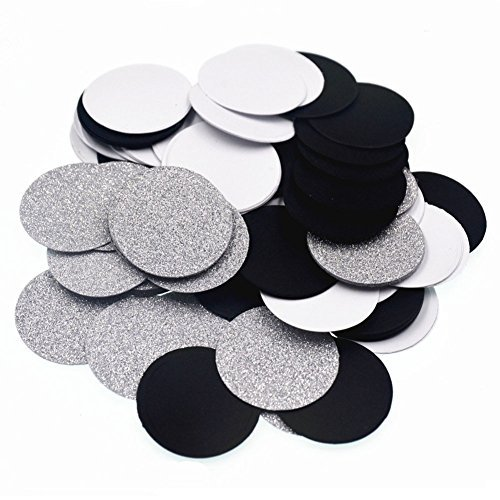 Glitter Paper Circle Dots Confetti Wedding Birthday Theme Party Table Decoration Glitter Silver, Black and White, 1.2 inch, 200pc