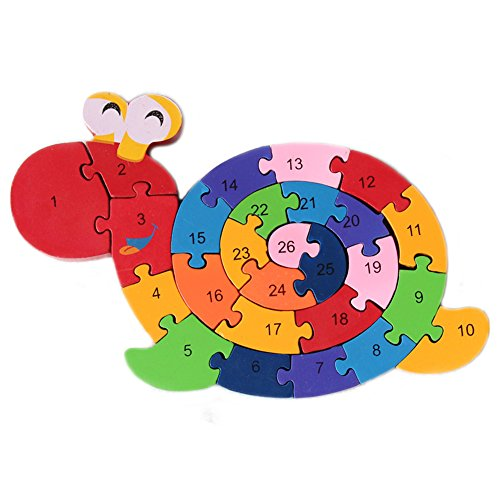 Extpro Wooden Snail Sorter Puzzles Letter Numbers Building Educational Toy Double Sides Jigsaw Puzzle for Kids (Snail Jigsaw)