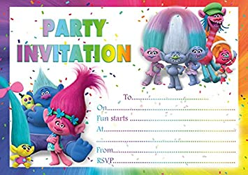 10 X Trolls Children Birthday Party Invitations Blue Envelopes