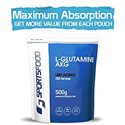 L-Glutamine Alpha-Ketoglutarate (AKG) Powder - 500g (1.1lbs), pH Altered for Faster & More Complete Absorption, Smaller Dosage than Competitors