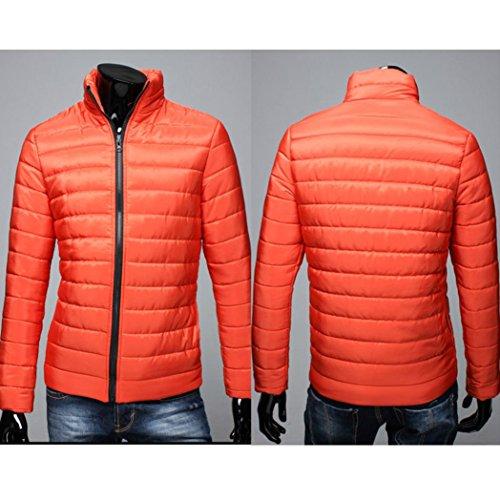 Gruesa SHOBDW Invierno Stand de Naranja Abrigo Hombres algodón Chaqueta Cremallera Caliente wgxEYgzr