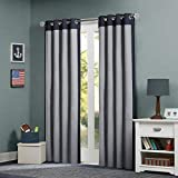 "Mi Zone Kids 63"" Liam Energy-Saving Grommet Top Window Curtain Panel In Black/grey"