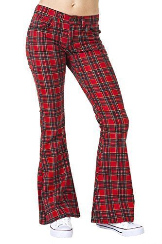 Run & Fly Women's 60S 70S Stewart Tartan Bell Bottoms Flares Hippie Vintage UK 16/US 12-34 Waist/32 Leg, Regular Red - Vintage 70s Plaid