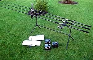 3 cañas para carpas DE LUXE KARPFENSET 3 ruedas DE pesca