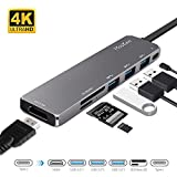 USB C Hub HDMI, MosKee 7-in-1 USB C Adapter, USB Type C Hub Mult-Port Dongle 4K USB C to HDMI, Type-C PD Charging Port, USB 3.0 Ports, SD/MicroSD Card Reader for MacBook Chromebook DELL XP and More