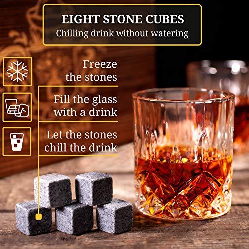 Whiskey Glass Set of 2 – Bourbon Whiskey Stones Gift Set – Rocks Whisky Chilling Stones – Scotch Glassess Gift in Wooden…