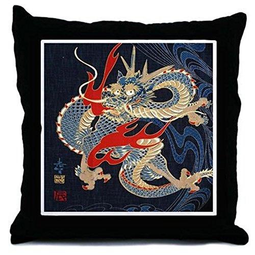 CafePress - Dragon Japanese Textile - Throw Pillow, Decorative Accent (Japanese Decorative Accents)