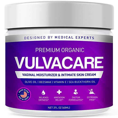 Organic Vaginal Moisturizer, Vulva Balm Cream, Intimate Skin Care, Menopause Support – Relieves Dryness, Itching, Burning, Redness, Chafing, Odor, Irritation – Estrogen Free (2 Ounces)
