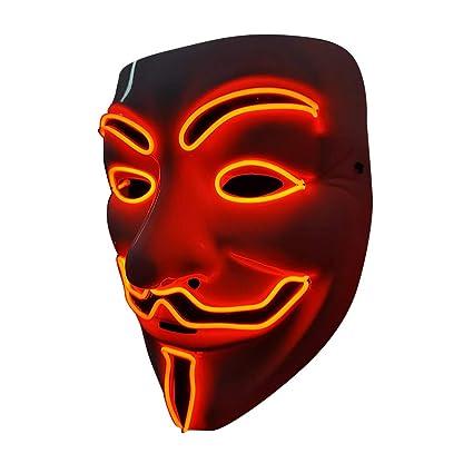 SOUTHSKY LED Mascara Disfraz de Luces Neon Led Brillante V Vendetta Mask EL Wire Light Up 3 Modos For Halloween Costume Cosplay Party (V-Red)