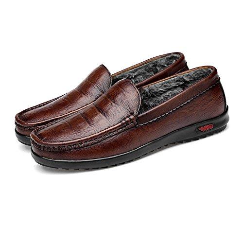 8 Formales Fiestas Uk Jiuyue Brown Crocodile Zapatillas O 5 Para Conducción Hombre Piel Auténtica shoes Con Clásicas Diseño Brown Eventos Incluso Warm Penny Casuales De wwZxqRvBp