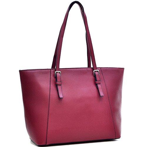 Dasein Women's Large Buckle Tote Handbag Purse Red