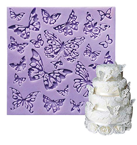 Fondant Impression Mats square fondant impression lace butterfly mould Silicone imprint mold Cake Decorating Supplies for Cupcake Wedding Cake topper Decoration