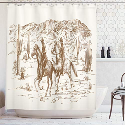 Ambesonne Western Shower Curtain by, Country Theme Hand Drawn Illustration of American Wild West Desert with Cowboys, Fabric Bathroom Decor Set with Hooks, 70 Inches, Cream Umber for $<!--$29.95-->