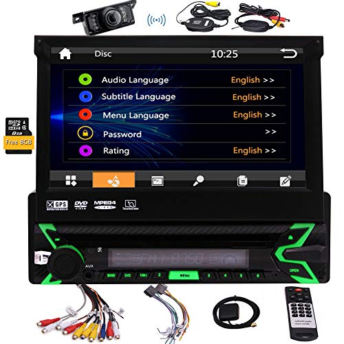Single DIN in Dash Car Stereo Head Unit 7 inch Flip Out Capacitive Touch Screen Monitor Audio Video Receiver System GPS Navigation,Radio,Bluetooth,Microphone,USB Micro SD Reader + Wireless Cam