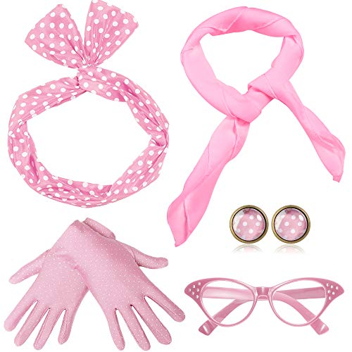 - ArtiDeco 50s Accessories Bandana Tie Headband Chiffon Scarf Cat Eye Glasses 50s Earrings and Gloves 1950s Costume Accessories (Pink)