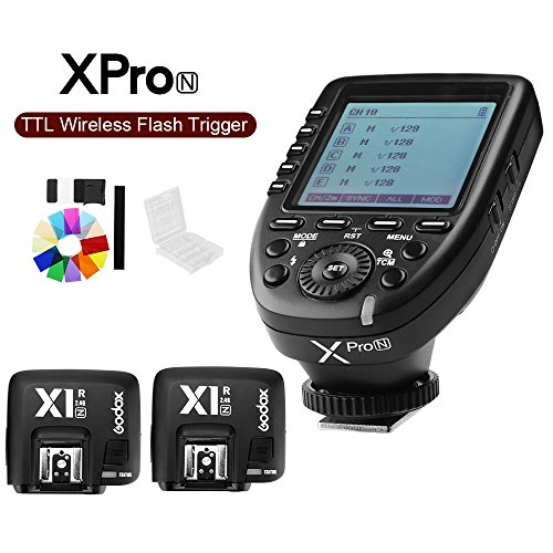 Godox Xpro-N i-TTL II 2.4G X System Wireless Control Remote Trigger with 2x X1R-N Controller Receiver Compatble for Nikon Flash by Godox